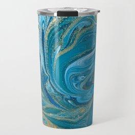 Blue & Gold Painting Travel Mug