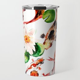 Koi Fish in Pond, Feng Shui Travel Mug