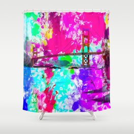 Golden Gate bridge, San Francisco, USA with pink blue green purple painting abstract background Shower Curtain