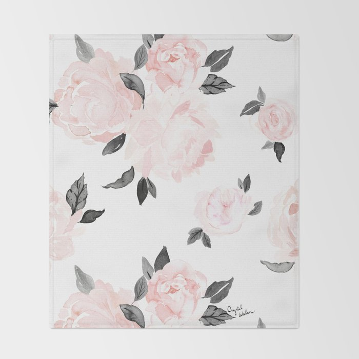 f073bc3360 Vintage Blush Floral - BW Throw Blanket by crystalwalen