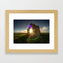 Winter sun at Burrow Mump  Framed Art Print