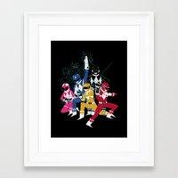 power rangers Framed Art Prints featuring power glove rangers by Louis Roskosch