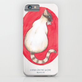 Haruki Murakami's Kafka on the Shore // Illustration of a Siamese Cat with a Fish in her Mouth in Pe iPhone Case