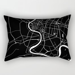 Bangkok Thailand Minimal Street Map - Midnight Black and White Rectangular Pillow