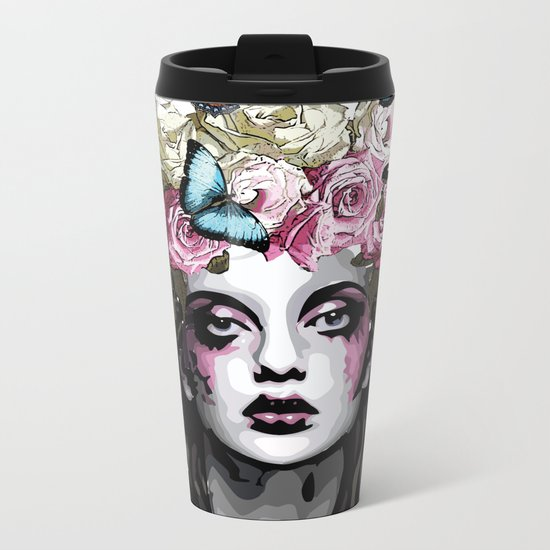 Rose, portrait of a woman with roses Metal Travel Mug