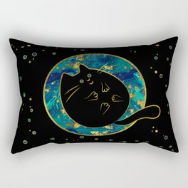 Funny Black Chubby Cat Rectangular Pillow