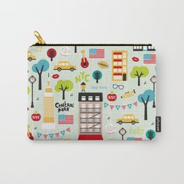Fun New York City Manhattan travel icons life hipster pattern Carry-All Pouch