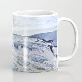 Closeup of the Rushing Waters Falling Down the Rocks of Gullfoss Waterfall in Iceland Coffee Mug