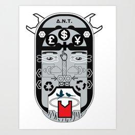Greek new tragic mask Art Print