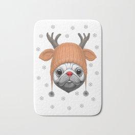 Pug Rudolph Bath Mat