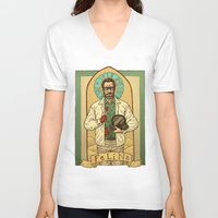 teacher V-neck T-shirts featuring White the Teacher by Ramon Villalobos