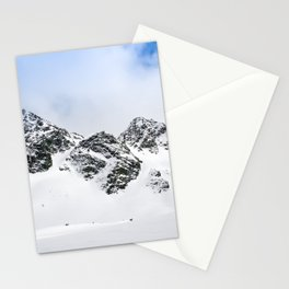 Switzerland mountains covered in snow in the winter blue skies Stationery Cards