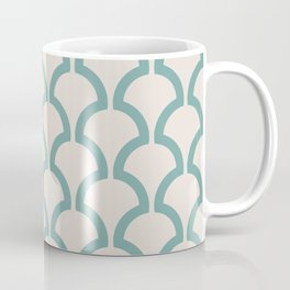 Classic Fan or Scallop Pattern 489 Green and Beige Coffee Mug