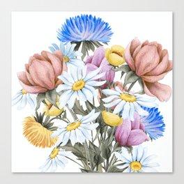 Summer Floral Watercolour Bouquet Canvas Print