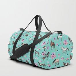 Hand drawn horses, Flower horses, Floral Pattern, Aqua Blue Duffle Bag