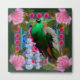 PINK ROSES & GREEN PEACOCK GARDEN FLORAL ART Metal Print