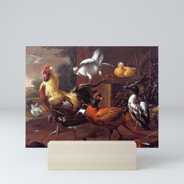 Melchior d'Hondecoeter Chicken Yard Mini Art Print