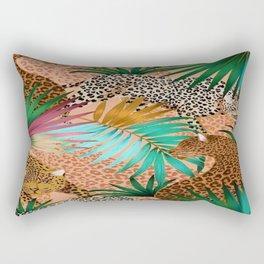 Cute Wild Leopards in a Peach Jungle Rectangular Pillow