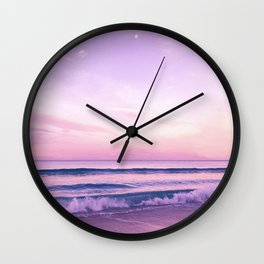 Pink lavender night Wall Clock