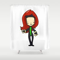 cassandra jean Shower Curtains featuring JEAN GREY by Space Bat designs