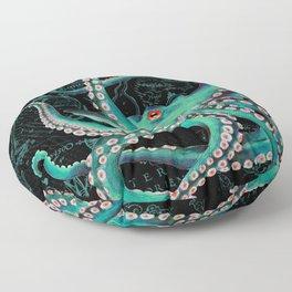 Teal Octopus Watercolor Vintage Map Dance Floor Pillow