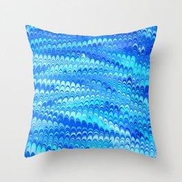 Marbled Non-pareil Blue Throw Pillow