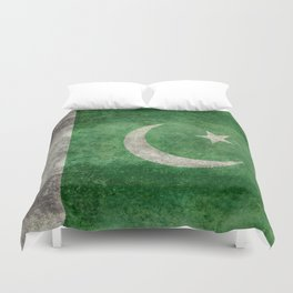 Pakistani flag, vintage retro style Duvet Cover
