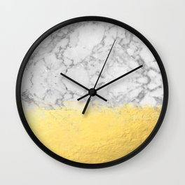 Marble with Brushed Gold - Gold foil, gold, marble, black and white, trendy, luxe, gold phone Wall Clock