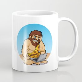 Caveman surprised to find a laptop Coffee Mug