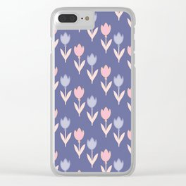 Modern hand painted pink lavender violet tulip floral Clear iPhone Case