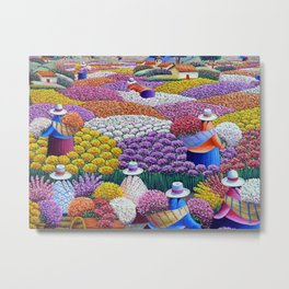 Pearl of the Andes Mountains - Valley of Starry Ranunculus Blossoms and Flower Sellers Metal Print