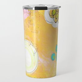 Yellow Floral Background Mixed Media by Glimmerbug Travel Mug