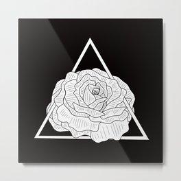 Black and White Triangle Geometric Flower Illustration Metal Print