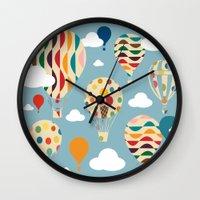 ballon Wall Clocks featuring hot air ballon by BruxaMagica
