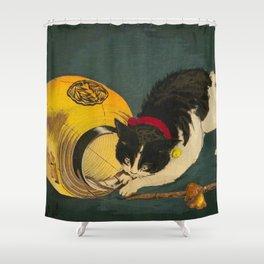 Kobayashi Kiyochika Black & White Cat Fluffy Cat Japanese Lantern Vintage Woodblock Print Shower Curtain
