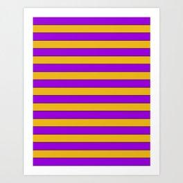 Yellow, purple stripes Art Print