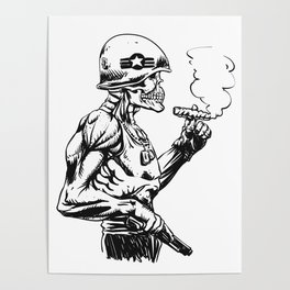 Military zombie - Skull military - zombie illustration Poster