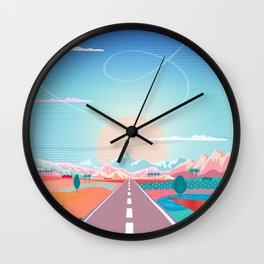 Summer Road trip to Rocky Mountains Adventures in Nature, car blue sky land airplane rural landscape Wall Clock