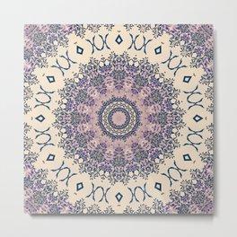 No. 20 Wisteria Arbor Way Regal Purple & Ivory Hugs and Kisses Mandala Metal Print