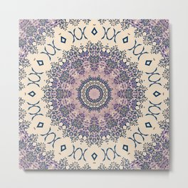 No. 20 Wisteria Arbor Way Regal Purple & Ivory Hugs and Kisses Mandala Metal Print