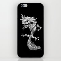 bouletcorp iPhone & iPod Skins featuring Axolotl Skeleton by Bouletcorp