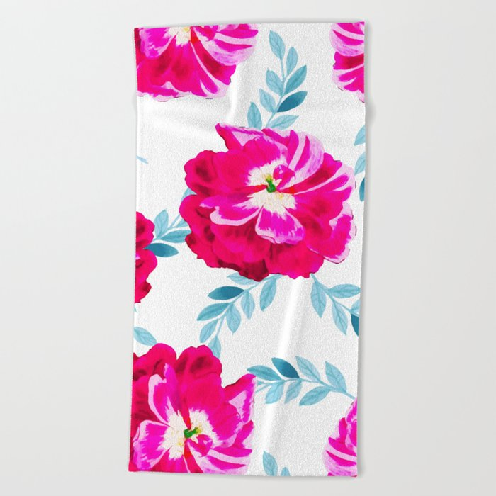 Fluorescent Florals #society6 #decor #buyart Beach Towel