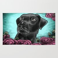 lab Area & Throw Rugs featuring Black Lab... by Lily Fitch