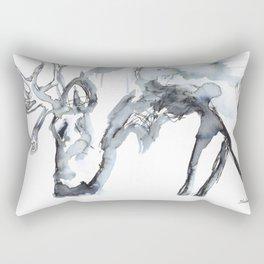 Watercolor Reindeer Sketch Rectangular Pillow