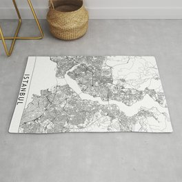 Istanbul White Map Rug