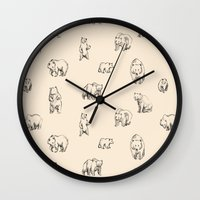 bears Wall Clocks featuring Bears by leah reena goren