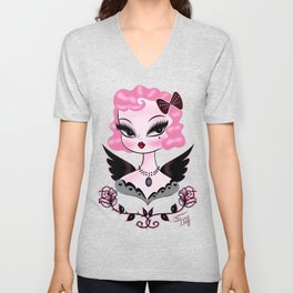Pink Hair Angel Dolly Unisex V-Neck