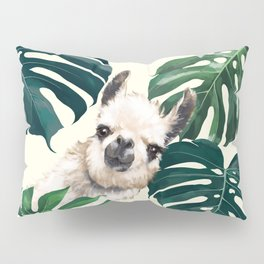 Sneaky Llama with Monstera Pillow Sham