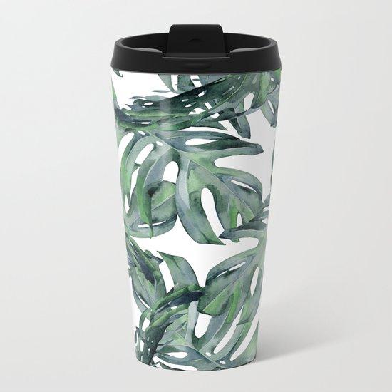 Tropical Palm Leaves Green and White Metal Travel Mug