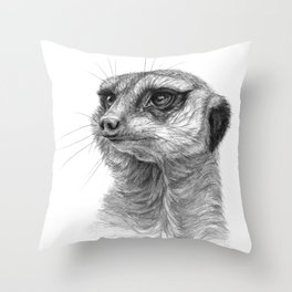 Meerkat-portrait G035 Throw Pillow